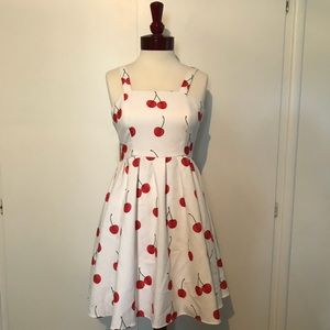 Vintage White Dress with Cherry Pattern 🍒